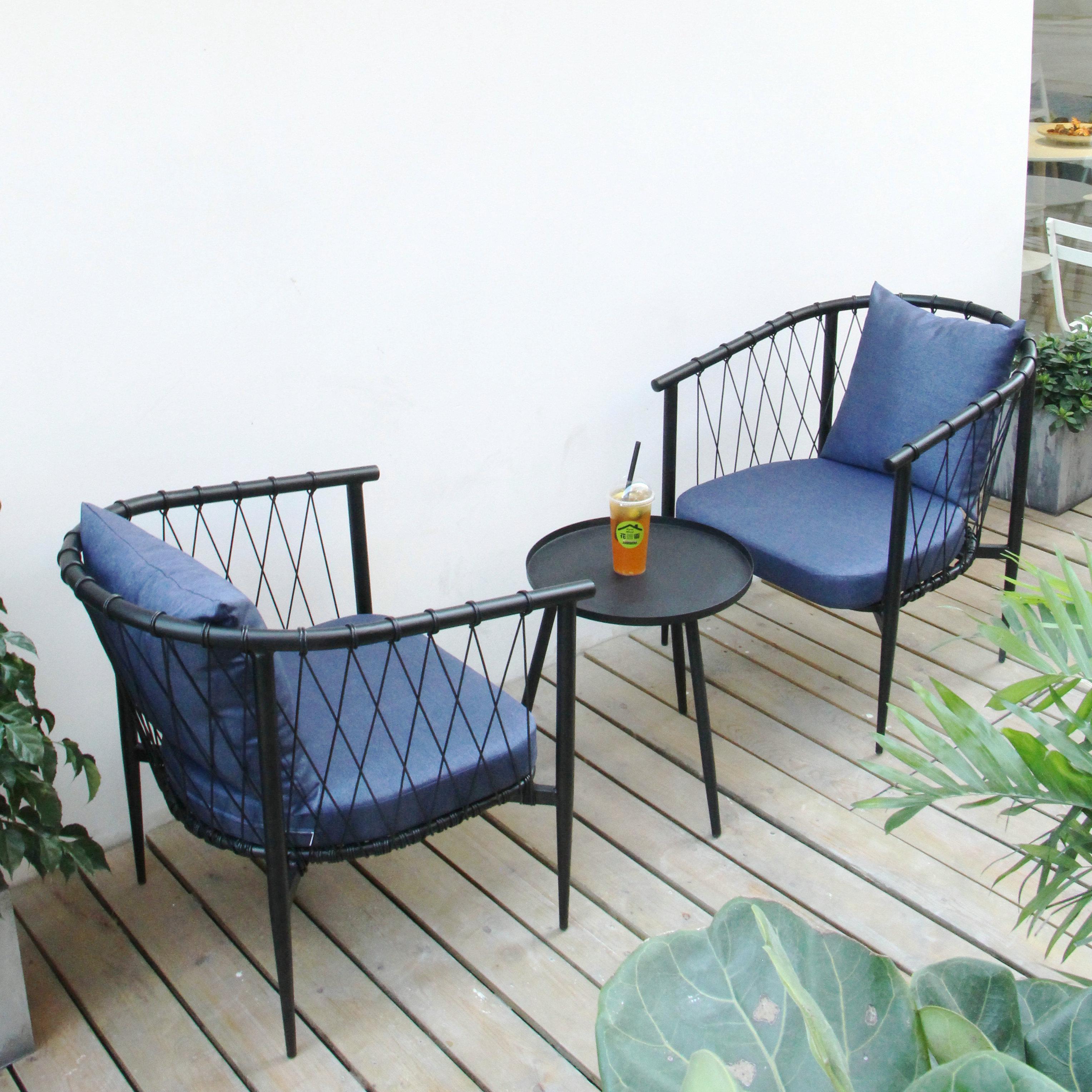 北欧简约户外家用阳台桌椅藤椅三件套小茶几休闲室外庭院藤编家具