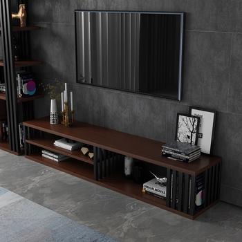 现代简约背景墙轻奢茶几组合电视柜