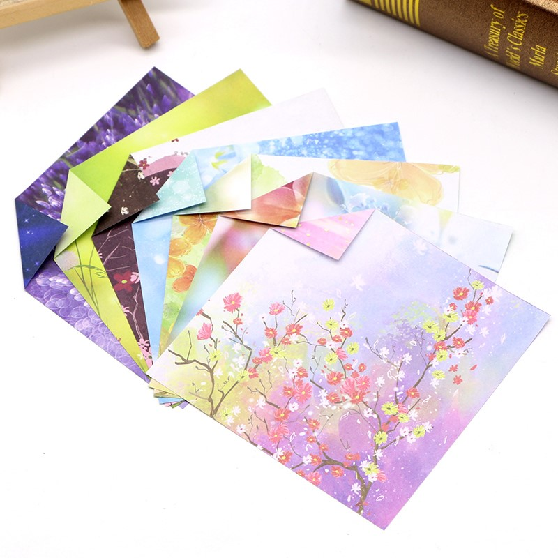 Hand made square origami with pattern color paper cartoon star sky color printing pattern beautiful double side