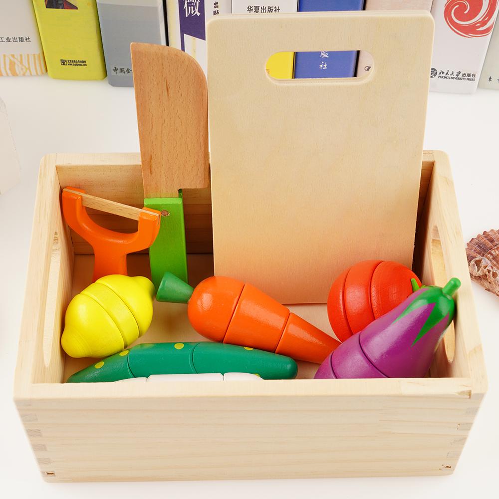 木制磁性蔬菜水果切切乐切水果玩具切切看男女孩过家家套装
