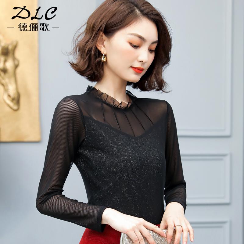 蕾丝打底衫女长袖2020新款春秋黑色网纱上衣百搭显瘦高领内搭T恤