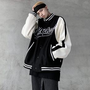 黑衣先生  加厚复古撞色刺绣棒球服棉衣男经典高街冬季棉服外套潮