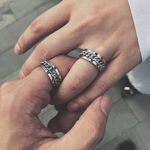 有唯佳人钛钢链条旋转戒指男可转动齿轮指环女个性嘻哈情侣戒子女
