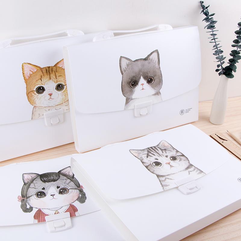 风琴包女多层文件夹学生手提韩版A4收纳可爱卡通小清新猫咪试卷袋