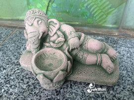 东南亚人气砂石卧姿财神象烛台户外阳台泰式酒店泰国特色摆件