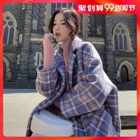 2019秋冬新款时尚韩版流行格子短款大衣茧型小个子毛呢外套女装潮
