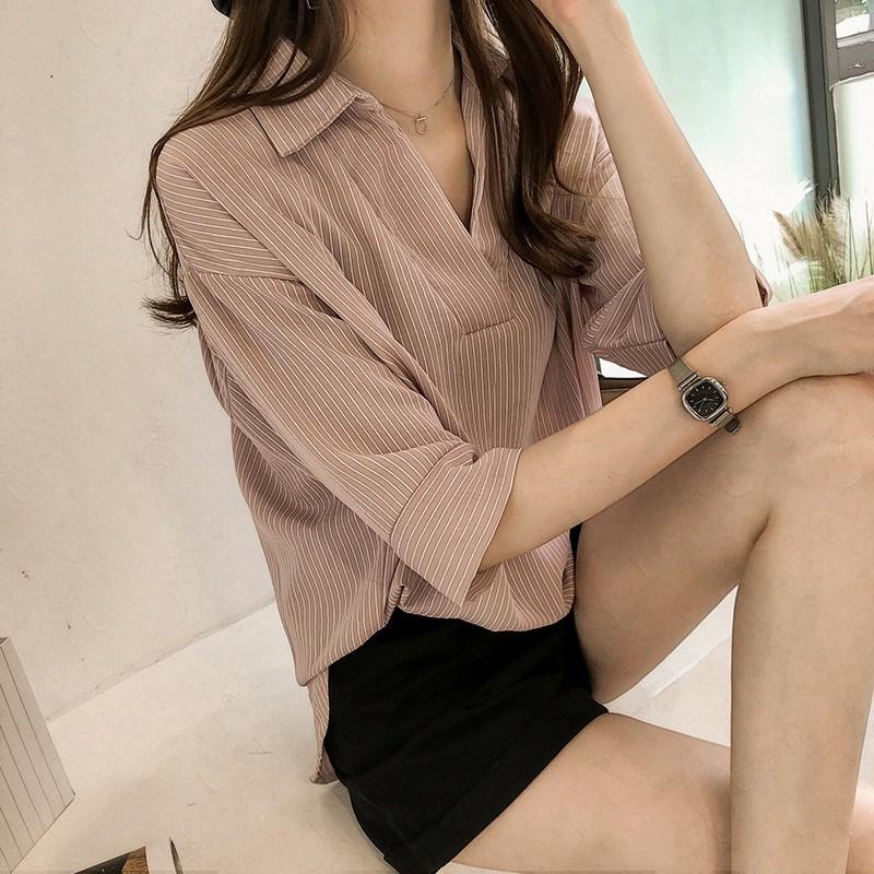 券后39.90元春夏新款韩版设计感v领雪纺衬衫女七分袖上衣宽松显瘦条纹衬衣潮