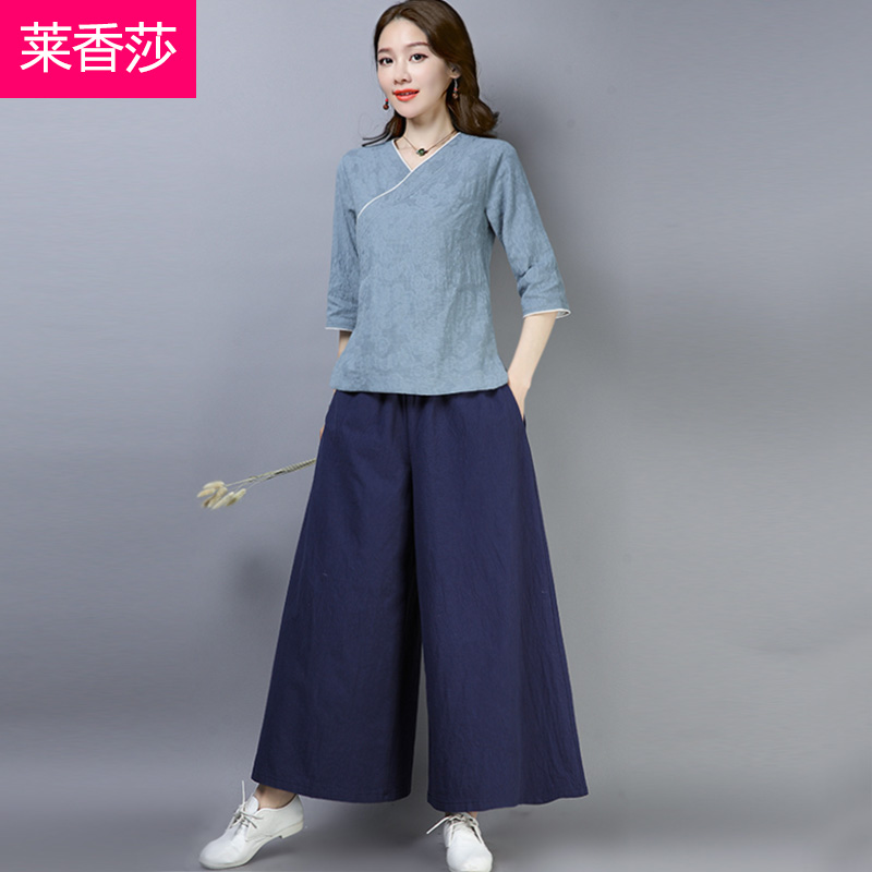 Spring and summer yoga clothes Chinese style Hanfu women cotton and linen Zen tea suit Chinese Tang suit women