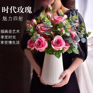 北欧仿真花玫瑰花摆设客厅假花摆件餐桌装饰花束绢花塑料干花摆设