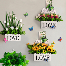 Wall hanging simulation flower suit plastic fake flower small ornament decoration home living room fence wall hanging flower basket