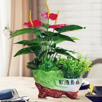 仿真绿植物盆栽塑料仿真花假花摆设家居客厅电视柜茶几装饰品摆件