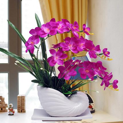 蝴蝶兰仿真花套装摆件家居客厅室内茶几电视柜假花盆栽装饰花摆设