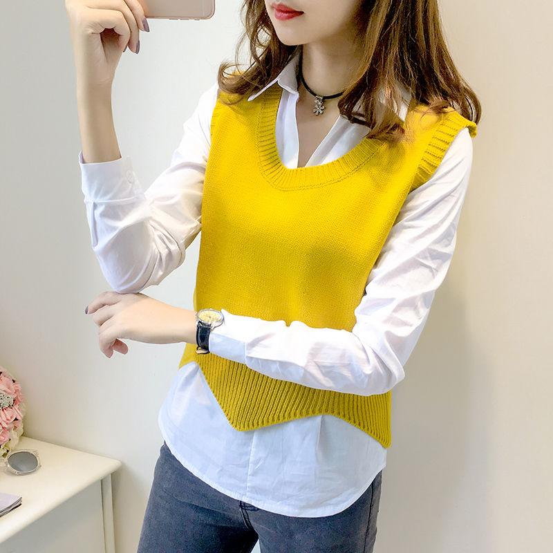 两件套韩版2020春秋新款背心针织衫