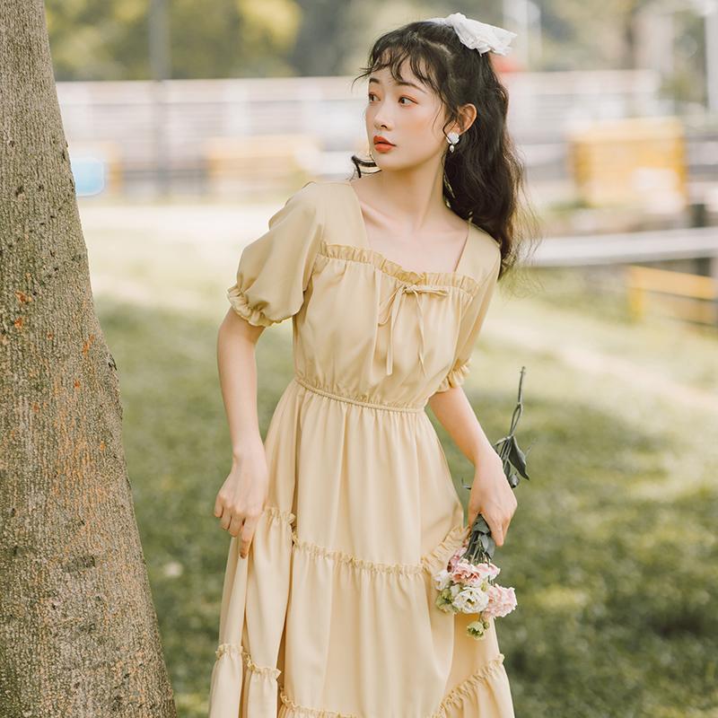 森系连衣裙女夏学生小清新裙子2021年新款仙女裙chic温柔夏天长裙