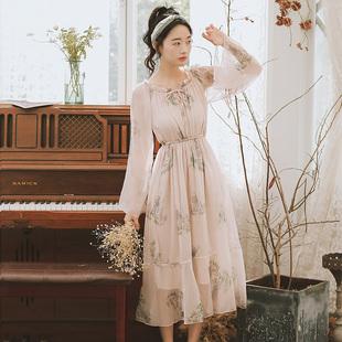韩版 新款 2020年春装 印花小清新雪纺长裙 学生连衣裙韩国碎花裙长袖