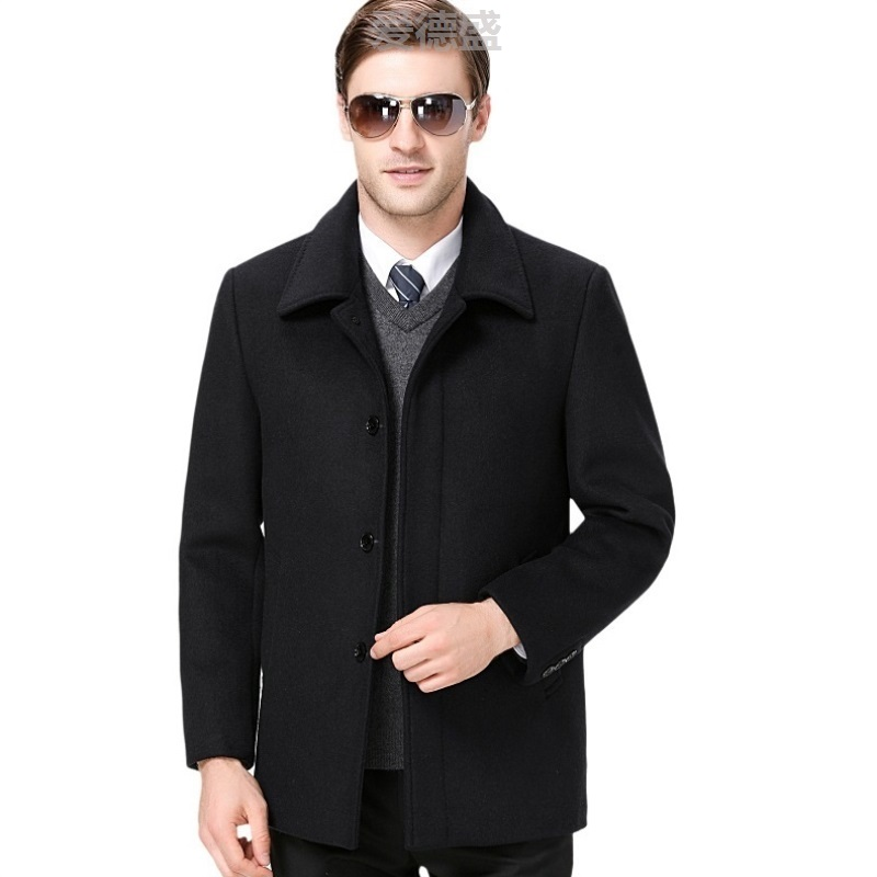 Business leisure mens cashmere jacket spring and autumn wear Lapel dad jacket jacket middle aged mens coat New Dad