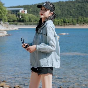大码宽松防晒衣开衫服女夏季短款长袖200斤超薄透气2020新款外套图片