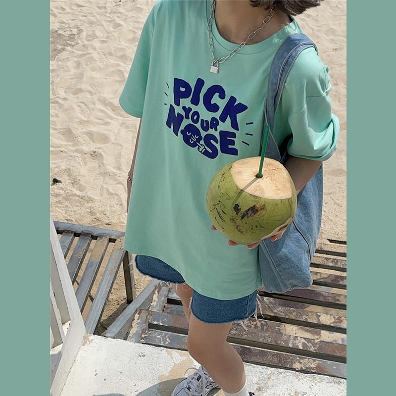 原创~2021新款夏装韩版字母宽松慵懒风盐系少女纯棉短袖T恤女上衣