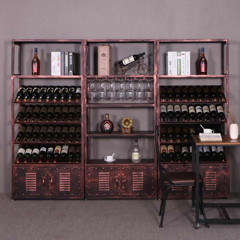 铁艺酒架酒吧落地餐厅酒柜复古欧式置物葡萄酒红酒酒杯柜展示架