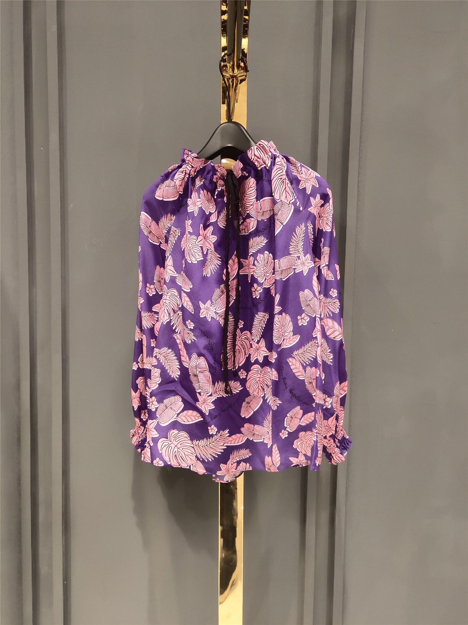 OU.欧点国内专柜2020夏波西米亚桑蚕丝花衬衫1201123014正品代购
