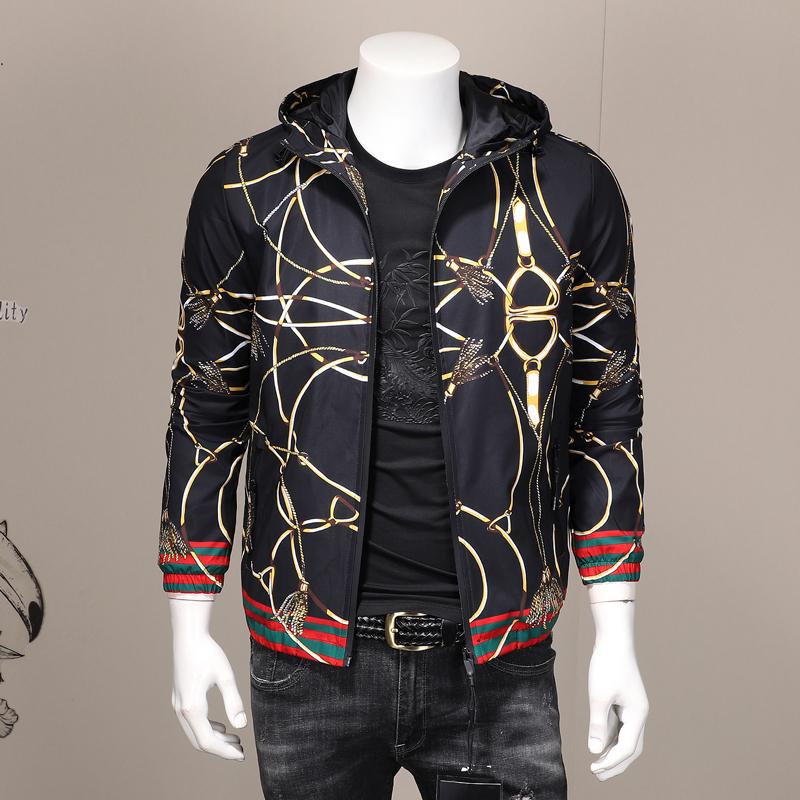 European station mens fashion brand casual Hooded Jacket retro printed autumn thin coat fashion mens large coat