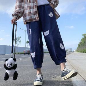 可爱日系甜美休闲直筒阔腿裤子女学生猫咪宽松百搭九分工装长裤潮
