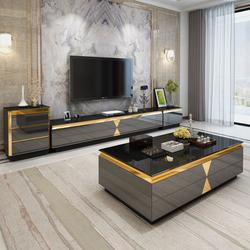 轻奢茶几电视柜组合小户型客厅电视机柜大理石玻璃电视柜现代简约