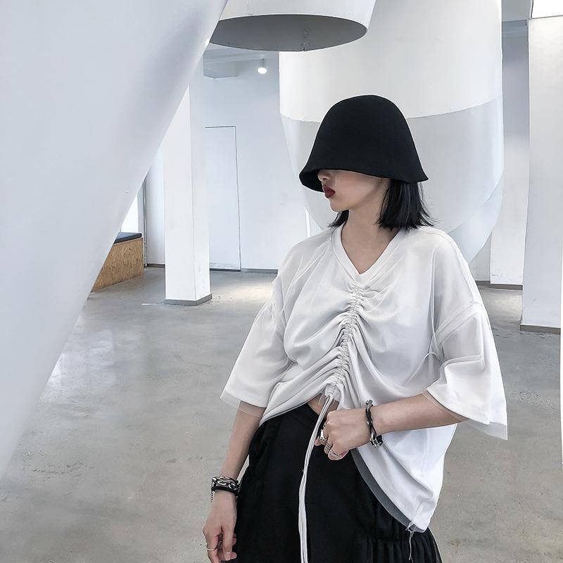 抽绳上衣女2019秋季新款原创心机设计感网纱拼接厌世丧系短袖t恤