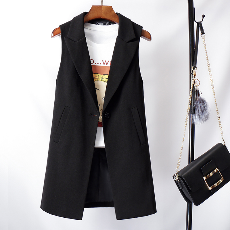 Suit, vest, women's mid spring and autumn long Korean version 2020 new black autumn wear western style jacket