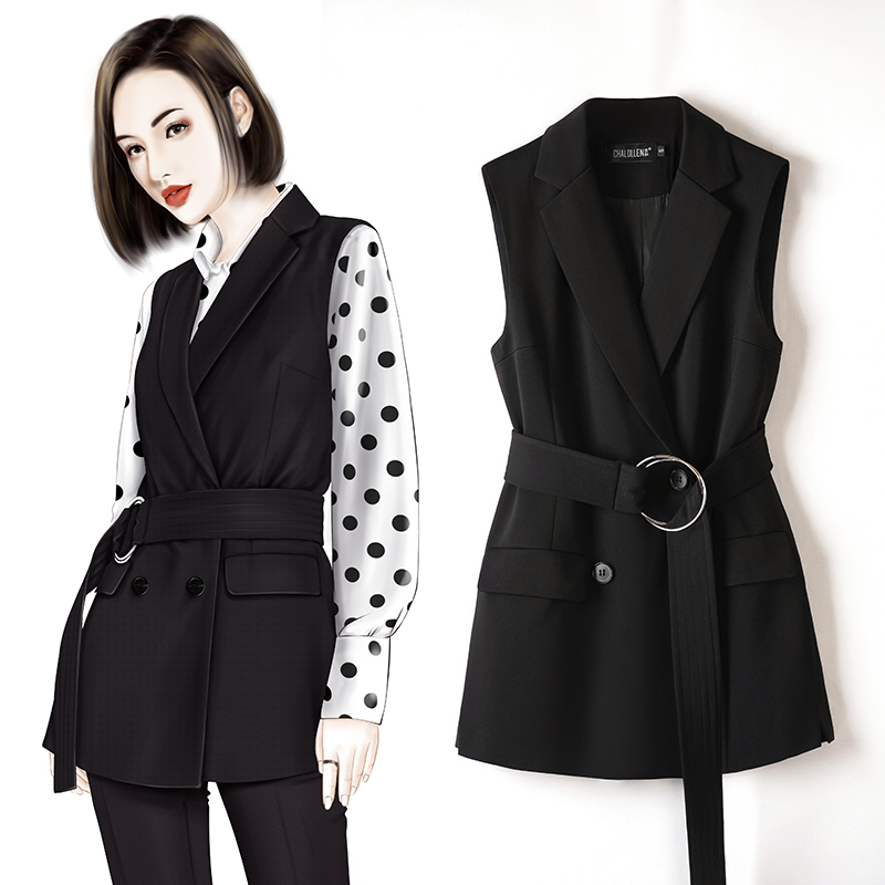 Suit, vest, women's 2020 new spring and autumn style with fashionable metal buckle, black belt, western style jacket and waistband