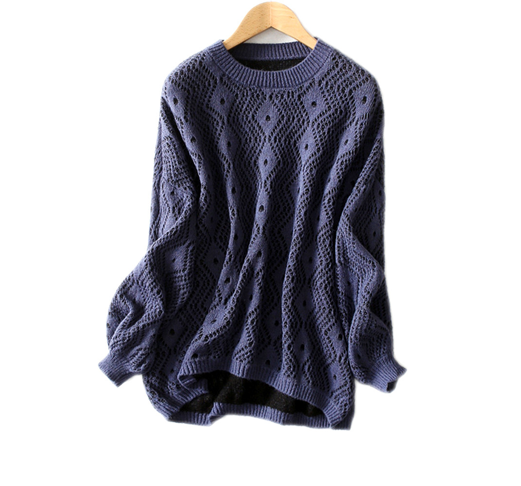 Womens T-shirt with lazy wind Lantern Sleeve jacquard wavy pattern and fluffy Mohair blended sweater