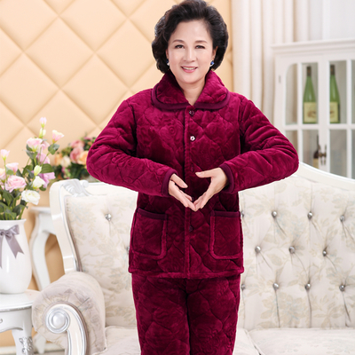 Winter pajamas womens pure cotton Plush thickened flannel home clothes set long sleeve coral velvet warm middle-aged and elderly