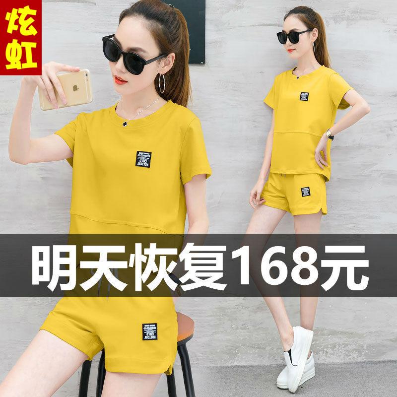 2018夏季新款韩版时尚短袖短裤纯棉休闲运动套装女大码宽松两件套