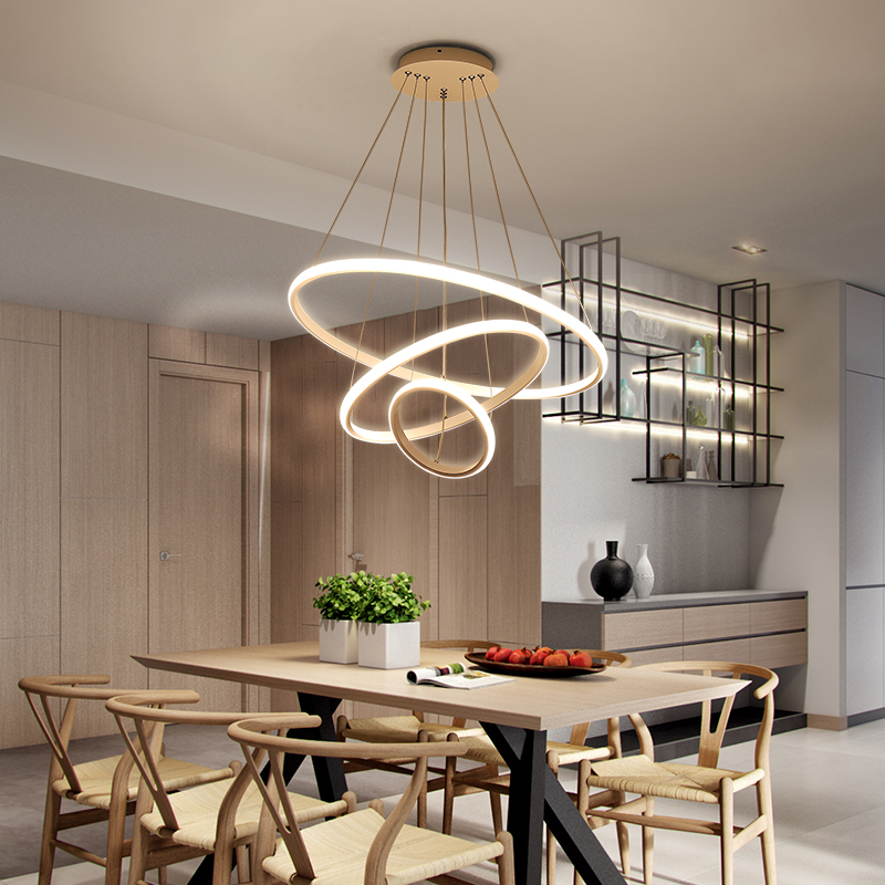 Chandelier modern simple household IKEA creative personality three ring ring ring bar table dining room dining room Chandelier