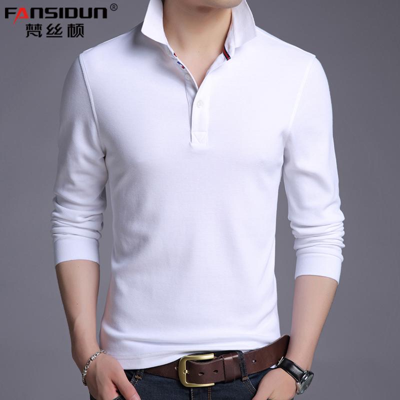 纯白t恤男长袖POLO衫春秋季带领休闲上衣薄中青年纯棉t裇全棉丅桖