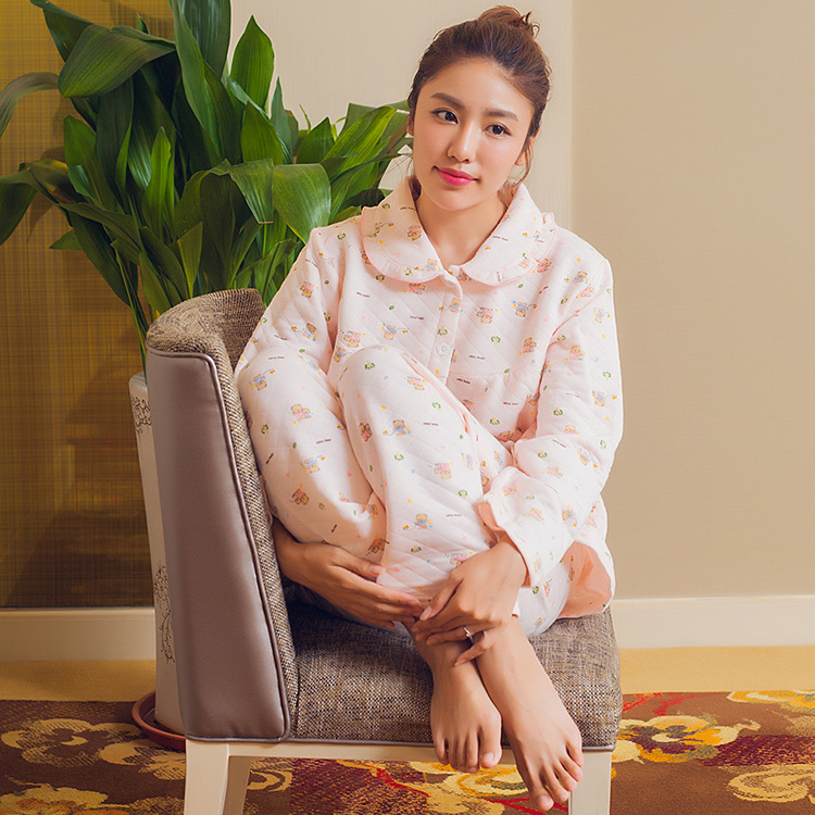 2019 new autumn autumn winter womens home wear pure cotton air layer Lapel long sleeve Pajama Set women warm and wide