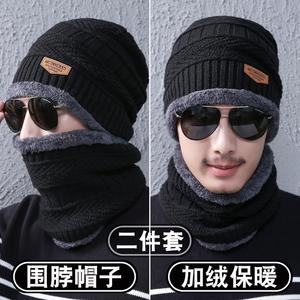 围脖男冬保暖户外防风加厚骑车加绒二件套韩版潮围巾女士护颈脖套