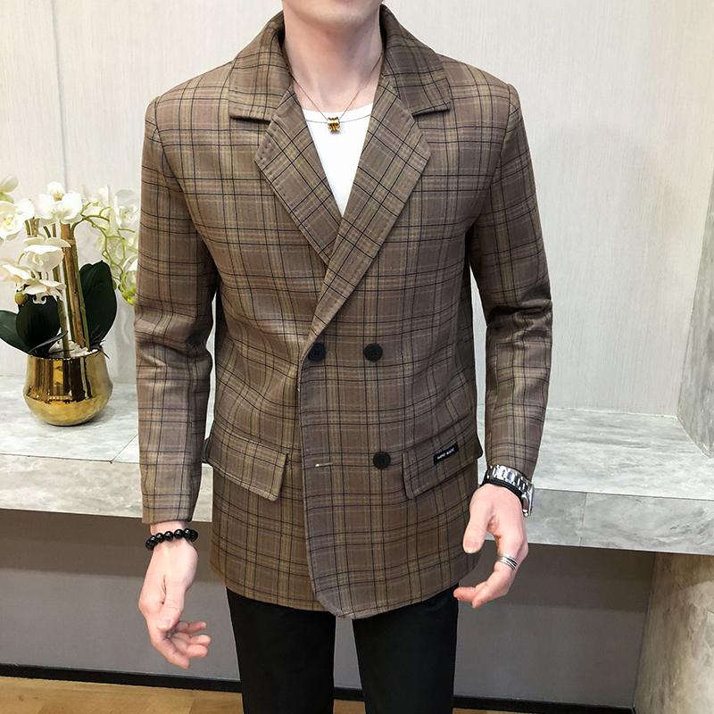 2020年春季新款网红潮款时尚修身休闲格子呢子大衣外套407-1/P130