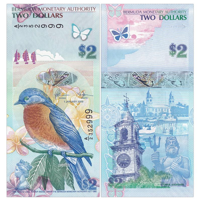 美洲-全新UNC 百慕大2元纸币 2009/12年 A/1冠 蓝鸟精美版 P-57b