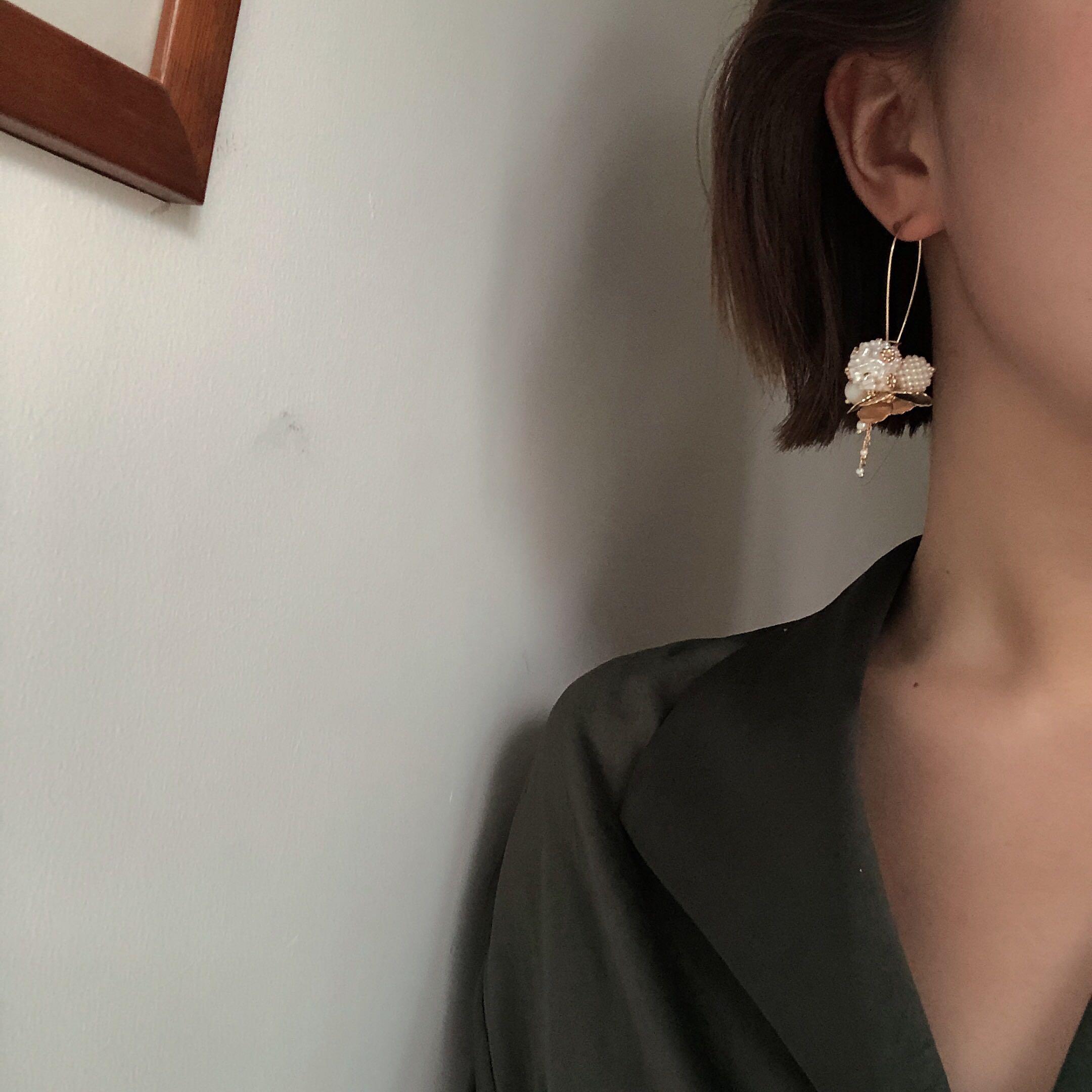 璇遇轩超仙高级金属花瓣珍珠f5耳环限6000张券