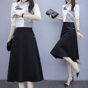 早春女装2021年新款法式春秋连衣裙子高级感职业衬衫两件套装夏装
