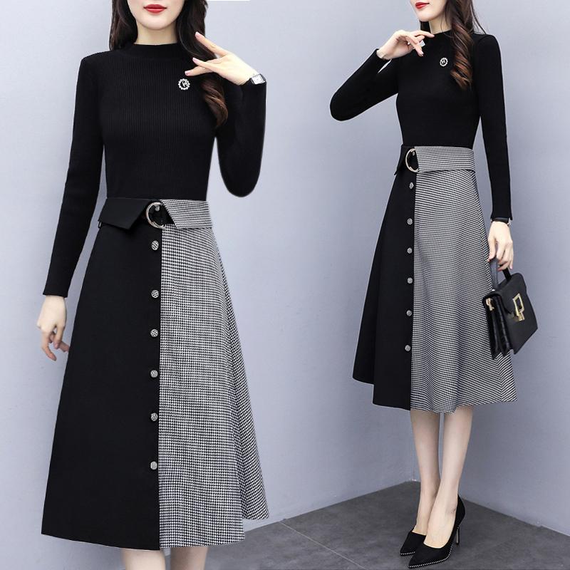 秋冬女2020年新款内搭毛衣打底连衣裙子加厚中长洋气冬裙两件套装
