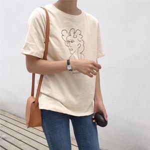 实拍韩国ulzzang2018春夏新款抽象人象画圆领短袖复古chic百搭T恤