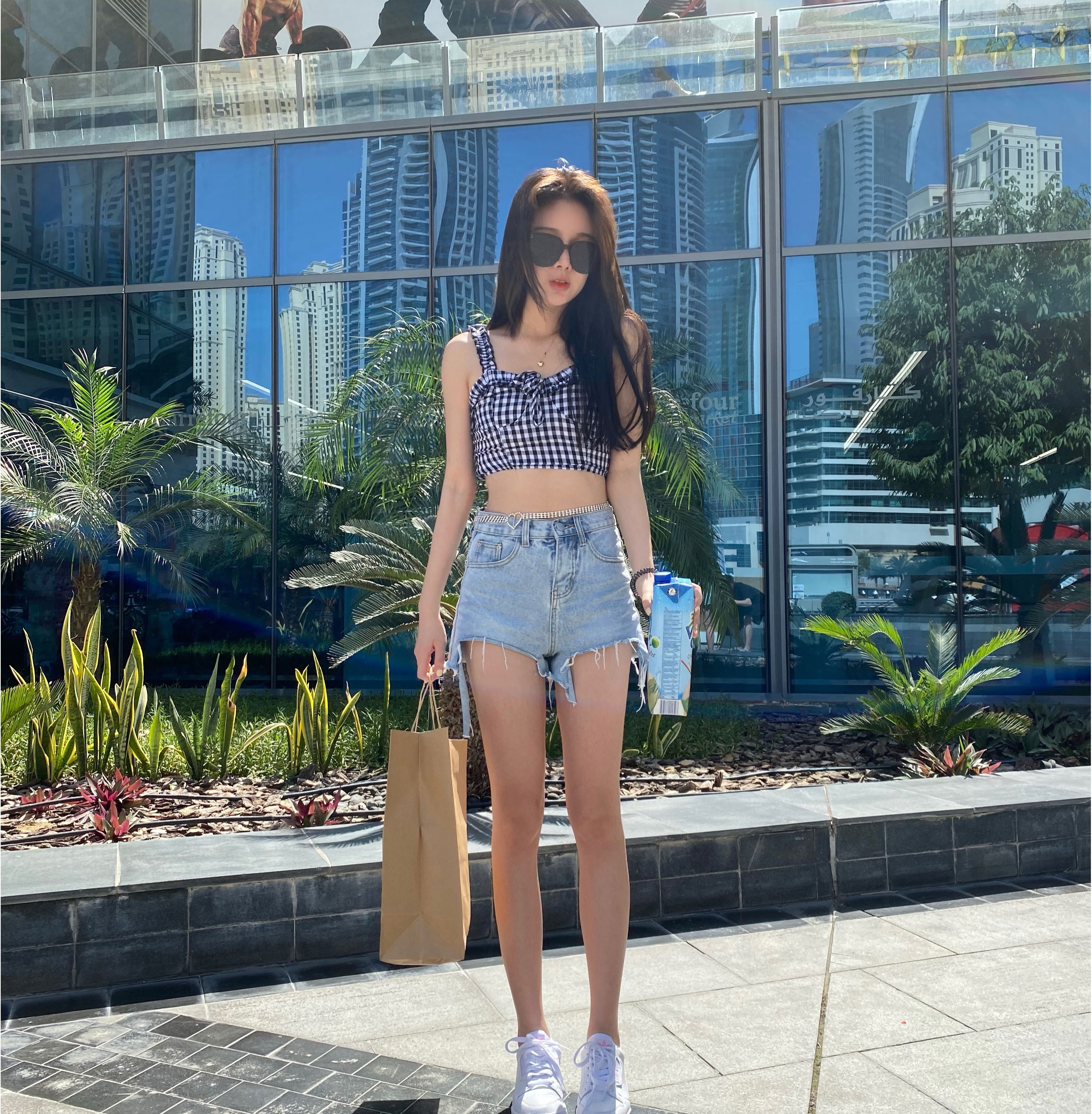 Zhang Zhiyan high waist denim shorts womens 2020 summer new wide leg flared pants casual fashion loose hot pants