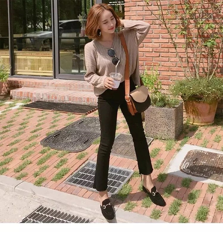 Micro new jeans womens spring and summer 2020 versatile thin eight point trumpet nine point slim black pants