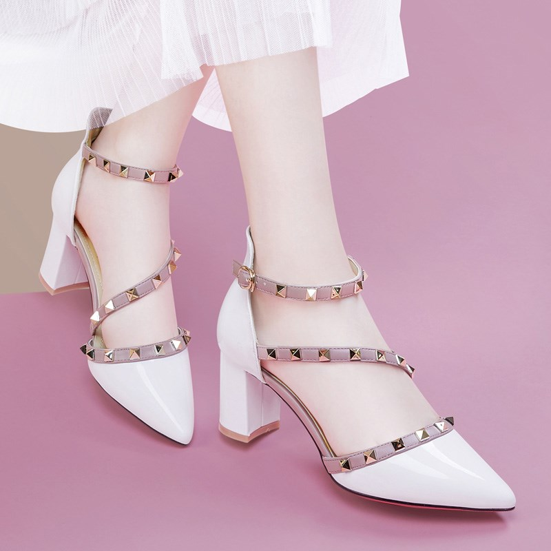 Sandals summer fashion 2020 new pointy four season womens shoes with thick heels and high heels