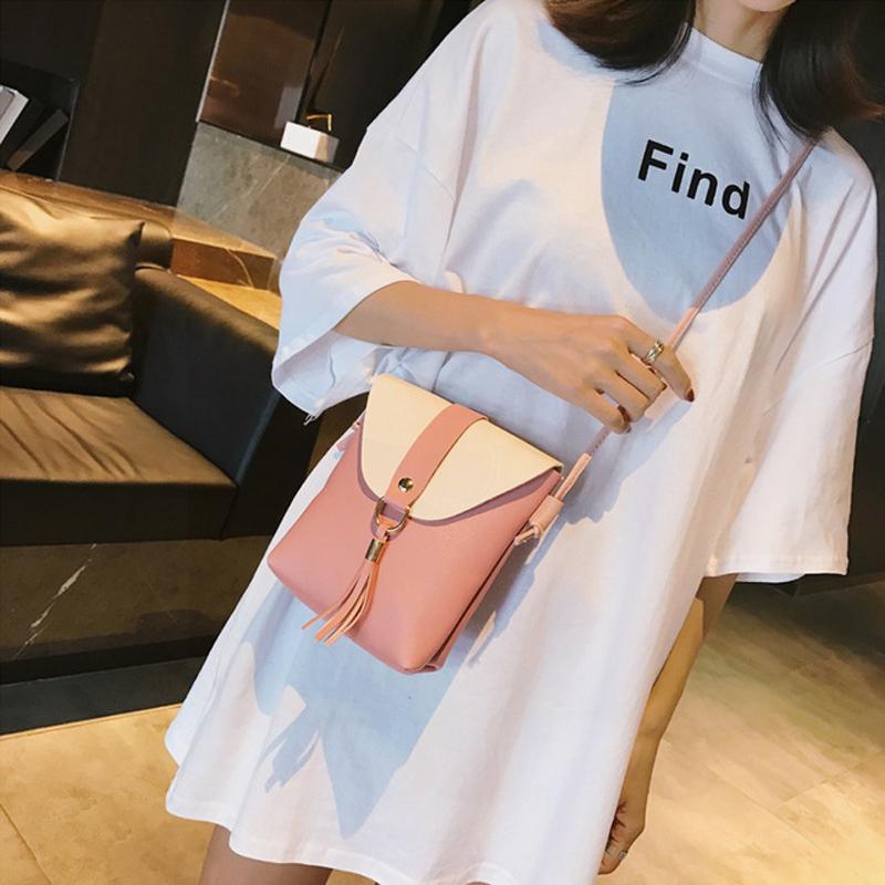 夏季韩版单肩斜跨流苏新款撞色竖款水桶女包零钱手机袋迷你小包
