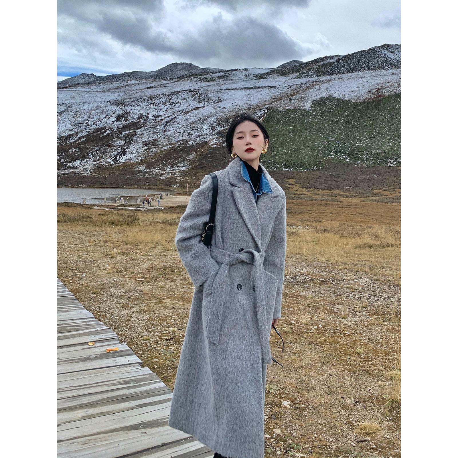 鹭青一极地绒厚实毛呢外套女2020秋冬新款复古中长款宽松呢子大衣