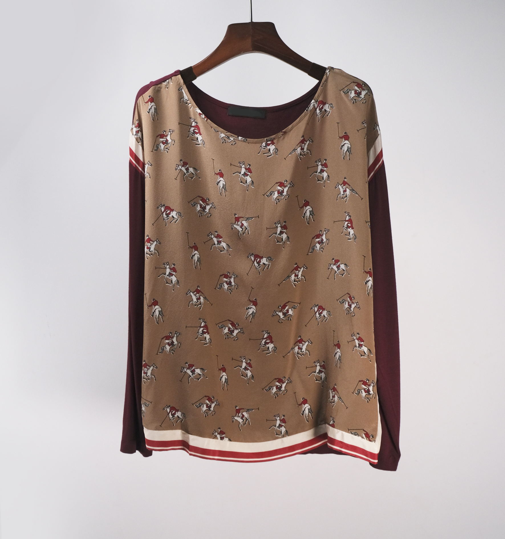 Italian era leisure Polo pattern silk print autumn long sleeve loose T-shirt round neck top