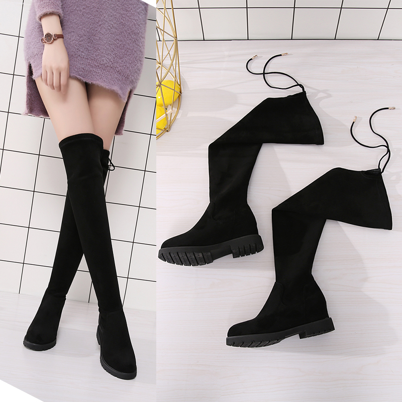 Jurinei heightening boots for children in winter 2019 new slim over knee boots thick heel high tube flat bottom comfortable elastic boots for women